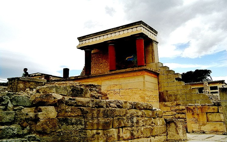 The ruins of the palace of Knossos, north entrance of the bull fresco