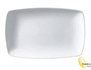 Fuente rectangular blanca lisa modelo esentials.