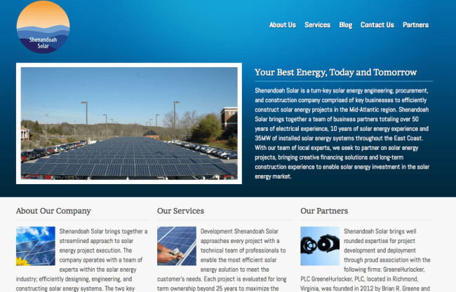 solar power website design