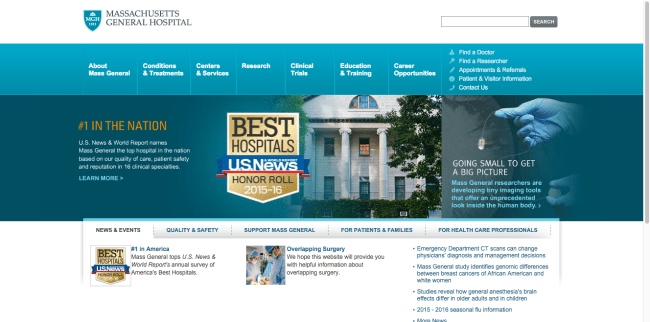 hospital websites - Massachusetts General Hospital