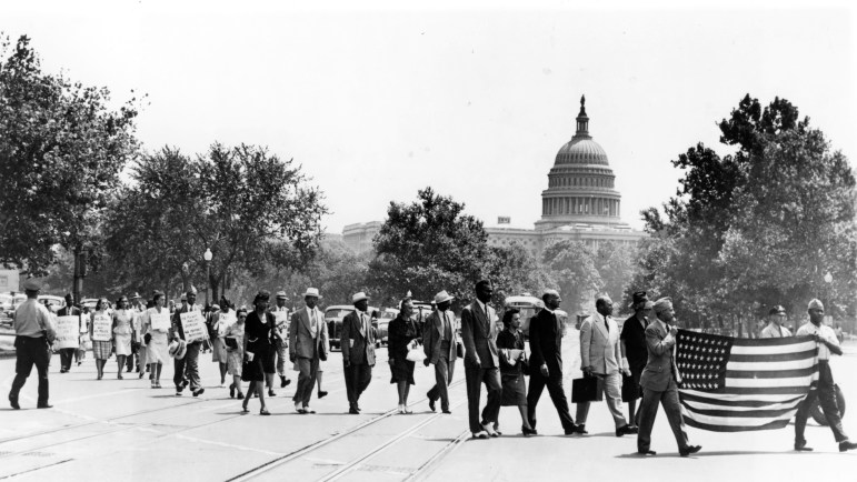 Civil rights marchers protest in Washington, D.C., in the late 1950s. (Photo: Library of Congress)