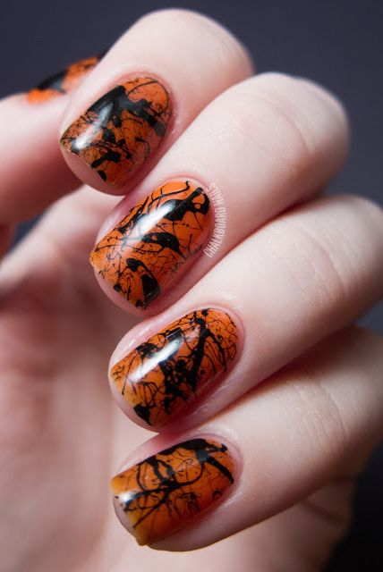 Fall Splatter Nails Design Ideas