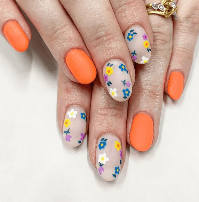 Orange floral nails art ideas