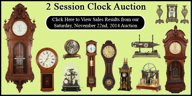 November 22, 2014 - Clock Auction - Prices Realized - E. Howard & Co. No. 47 brought $356,950.00 Over 700 lots crossed the block in a sale grossing over $1,500,000.00 The top lot of the auction was an E. Howard & Co. No. 47 astronomical hanging regulator clock which brought a new auction record of $356,950.00 breaking the previous record set at Fontaine's exactly 1 year ago when an E. Howard & Co. No. 68 astronomical floor clock brought $277,300.00.