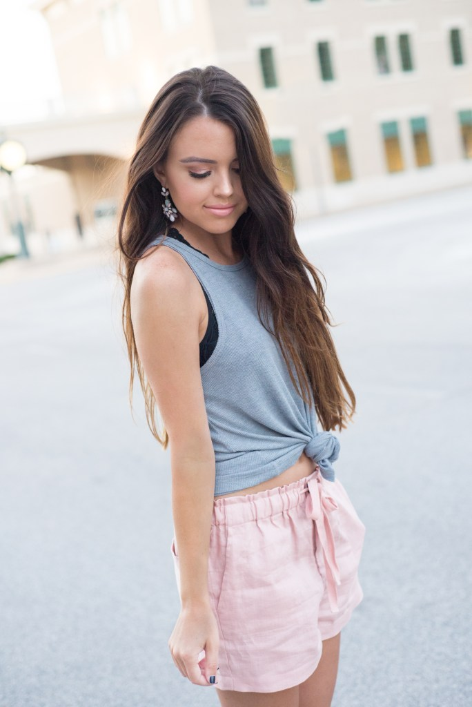 Pink Linen Shorts + Statement Earrings