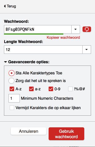 LastPass wachtwoord generator