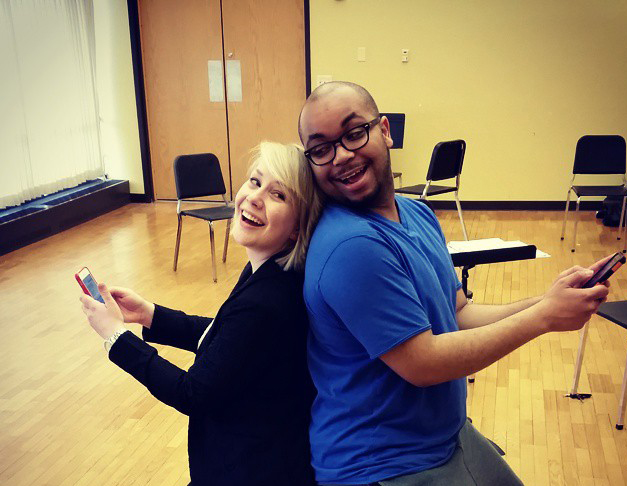 Texting duet: Elleka Okerstrom, left, and Yazid Pierce-Gray. (Submitted photo)