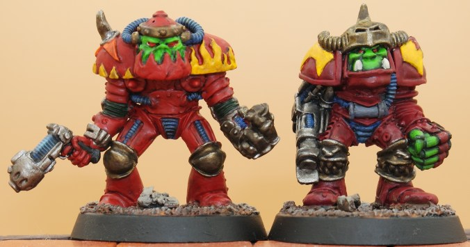 rogue trader old ork orc compared comparison new mini retro orktober painted mini miniatures rogue trader gw games workshop