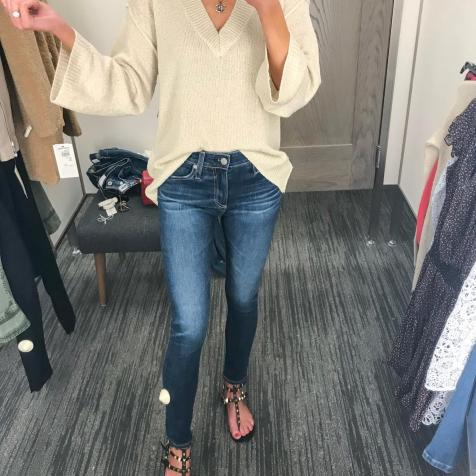 Love this super comfy knit-really lightweight, you could wear it now. And these are the same AG jeans.
