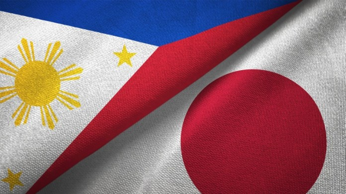 Philippines and Japan two flags textile cloth, fabric texture