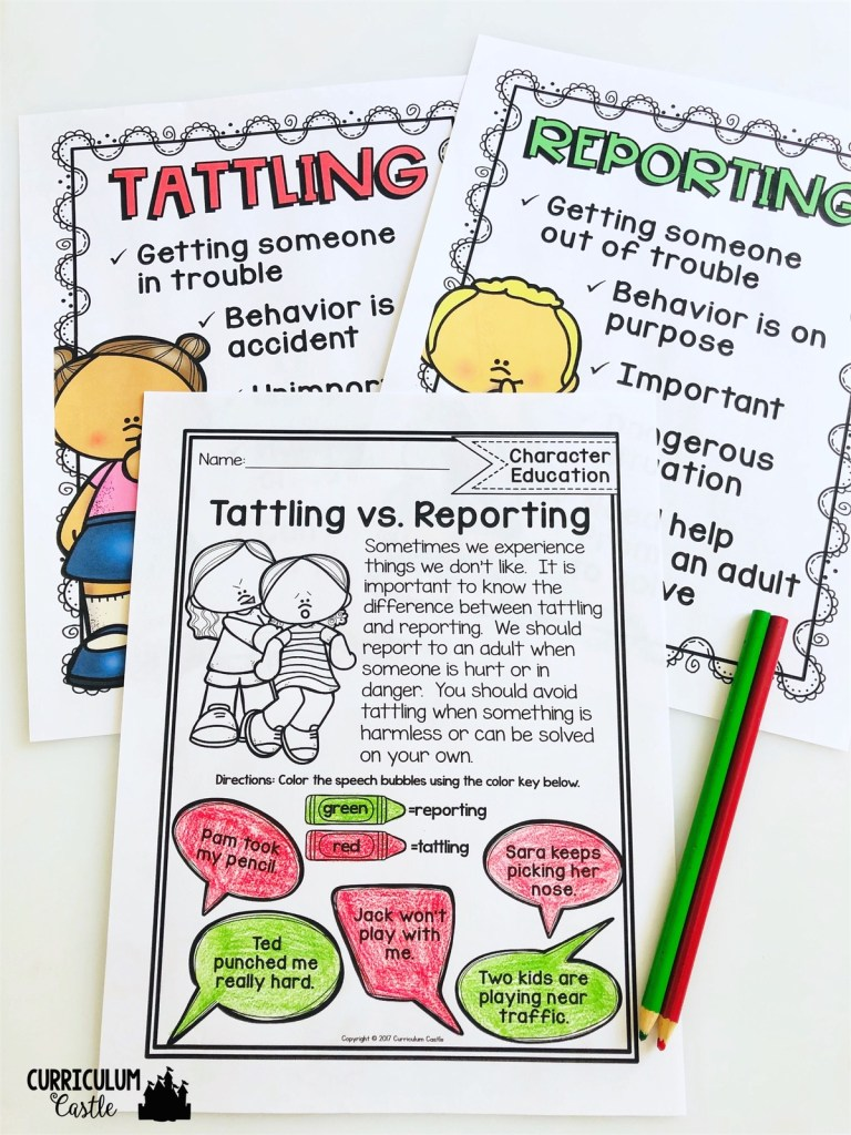 Free Tattling Vs Reporting Activity Curriculum Castle