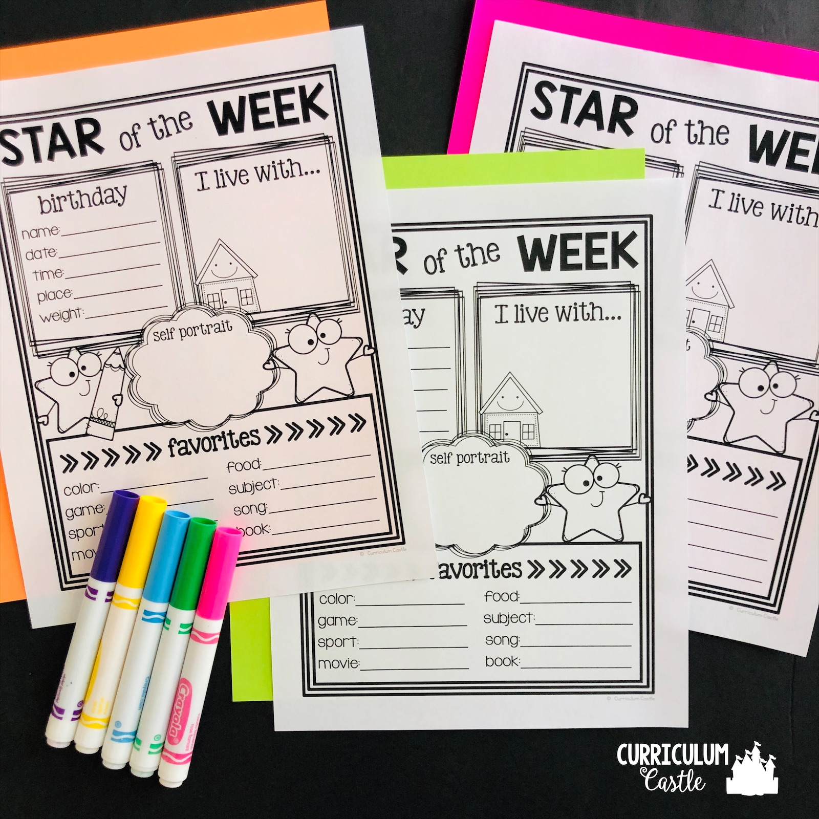 Free Star Of The Week Back To School Activity Curriculum Castle