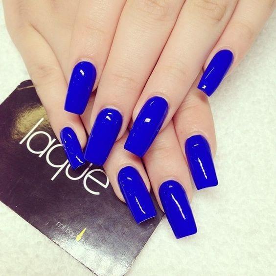 Unas Acrilicas Color Azul Rey Con Dorado Novocomtop