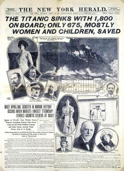 Portada del New York Herald, que recoge a Stead entre las víctimas más famosas