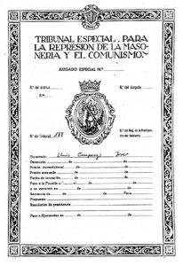 Documento del Tribunal Especial para la represión de la Masonería y el Comunismo