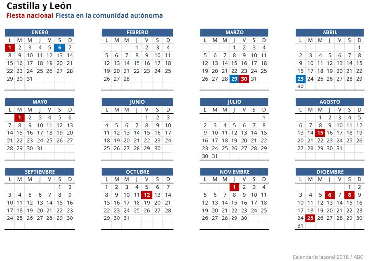 Calendario laboral 2018 for Festivos valladolid 2017