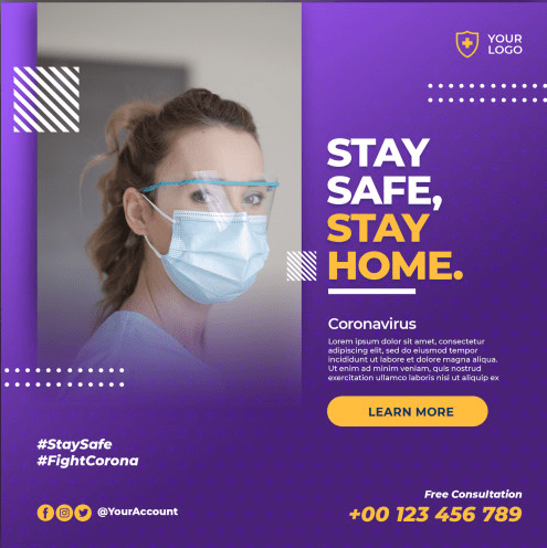 poster stay in home salud