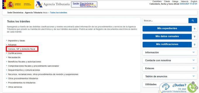 Baja de autónomos en Hacienda online paso 1