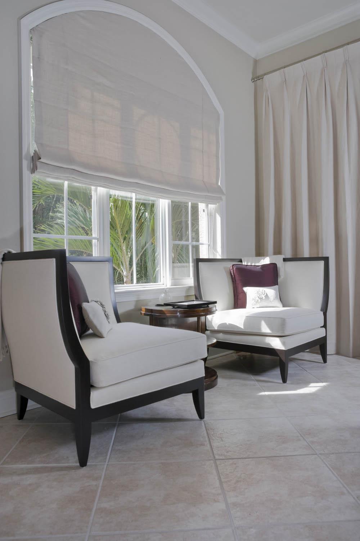Custom Roman Shade For Arched Window Interior Design