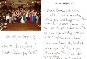 Olivier and Melissa sent a thank you note with photos from their wedding. This is a scan of that card.