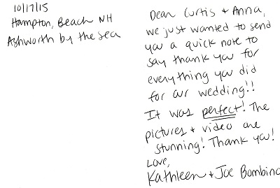 This note was sent by Kathleen and Joe after their incredible wedding at Hampton Beach.