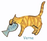 Verne with fish card and name