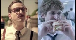 Coca-Cola propaganda Grandfather - neto e avó em imagens separadas, ambos com a mesma idade.