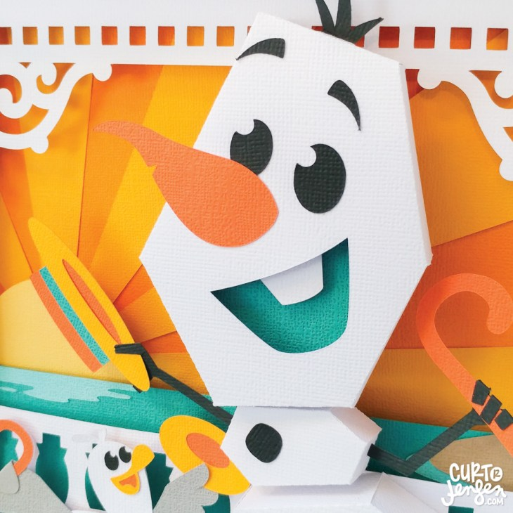 Close up of Curt R. Jensen's Frozen-inspired paper art.