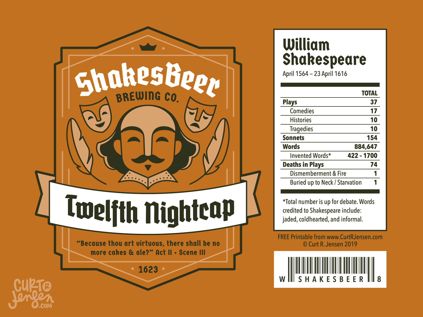 Twelfth Night Cap Label - ShakesBeer Brewing Co.