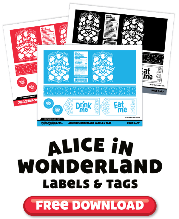 Click here to download your FREE Alice in Wonderland labels and tags