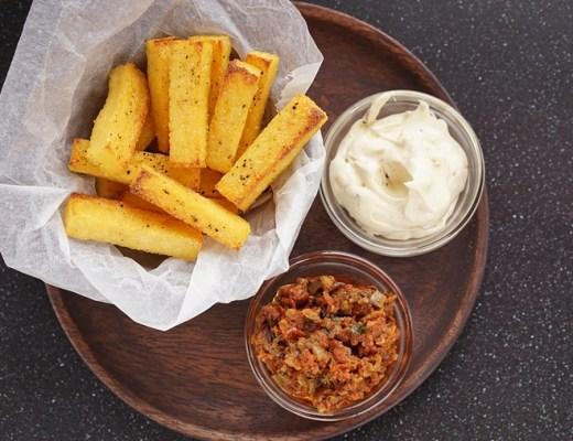 polenta frietjes met knoflook recept