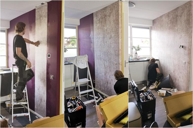 photowall patina beton behang 7 - Home | Een toffe update in onze keuken