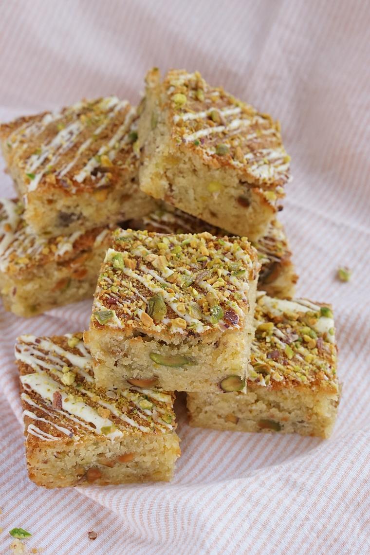 blondies witte chocolade pistache recept 3 - Blondies met witte chocolade en pistache