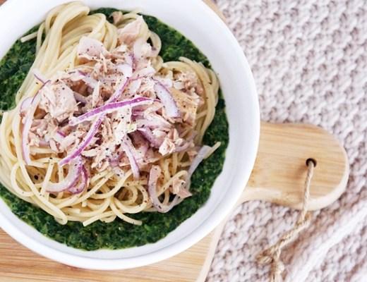 budget recept pasta tonijn spinazie 2 - €3,- food challenge | Pasta met spinazie en tonijn