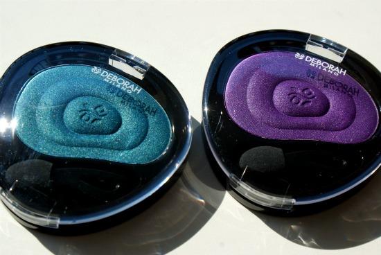 deborahmilanoeyeshadows1 - Deborah Milano 24Ore Velvet Eyeshadow Violet & Peacock - foto's, swatches en review