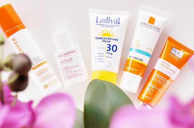 spf zonnebrandcrème crème gezicht gevoelige zongevoelige huid 1 - 5 x crème met SPF voor de gevoelige huid