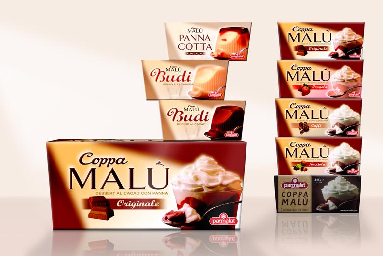 Coppa Malu desserts range design for Parmalat Italy