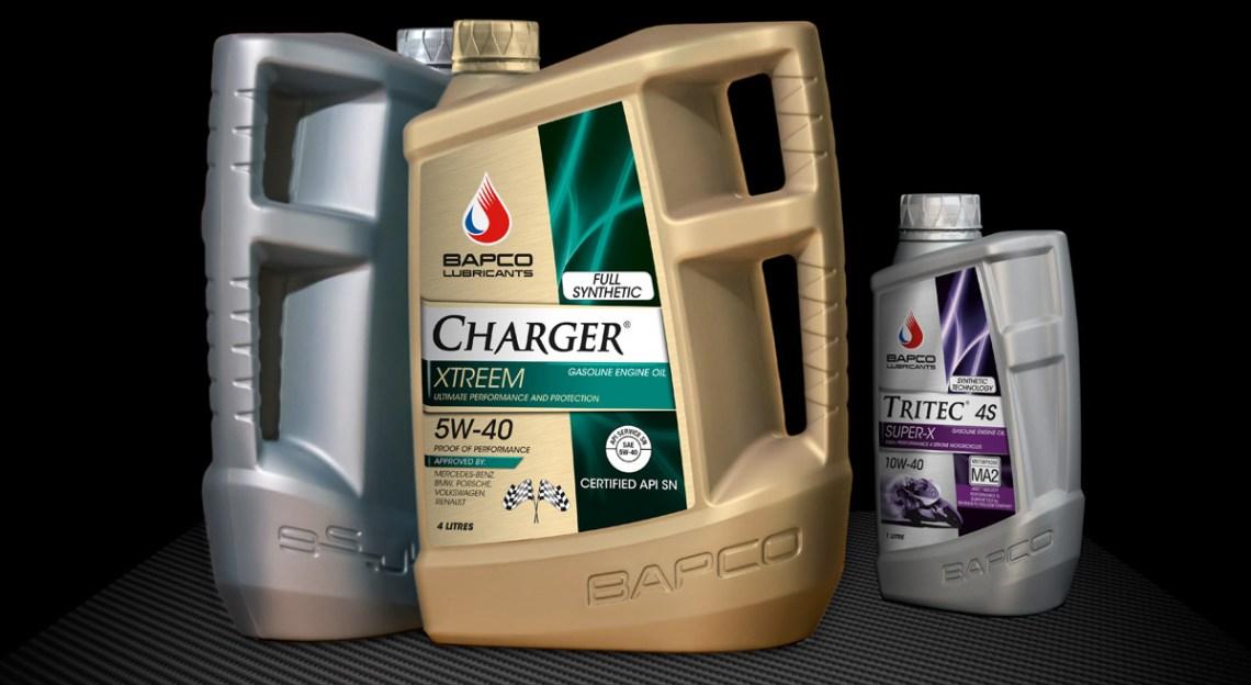 Bapco Lubricants oil bottle design in 5, 4 & 1 litre sizes.