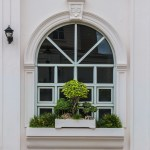 Arch window with bonsai decoration