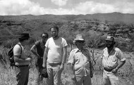 Bishop Museum team in Kawela, Moloka'i: (left to right) Patrick McCoy, Douglas Yen, Carl Christensen, Yosi Sinoto, and Patrick Kirch.