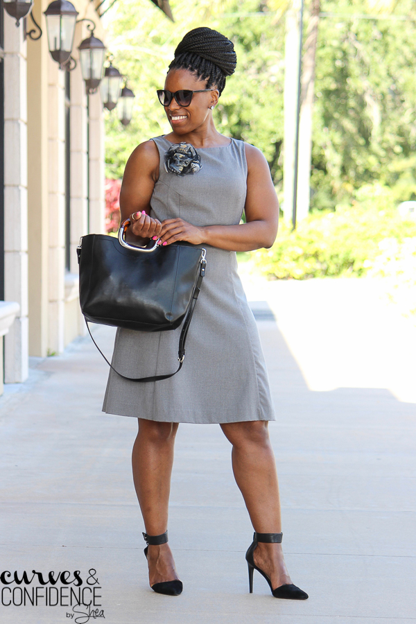 black girl magic, budget friendly work outfit, gray H&M dress, trendy work outfit, how to wear a braided bun to work_