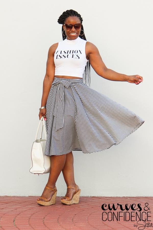 gingham midi skirt, crop top, black and white midi skirt