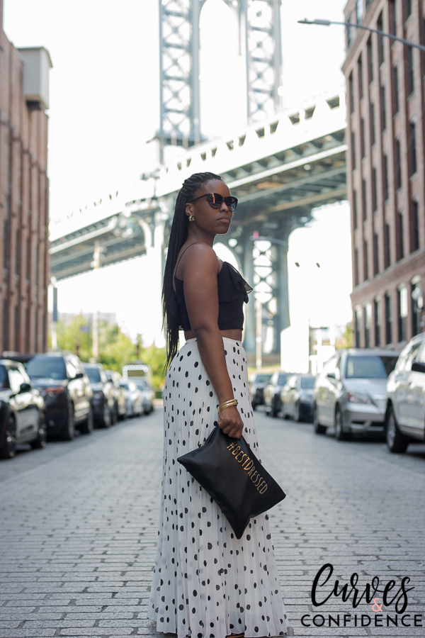 ruffle top, polka dot maxi skirt, maxi skirt and crop top outfit, how curvy girls dress in the summer, summer outfit, box braids