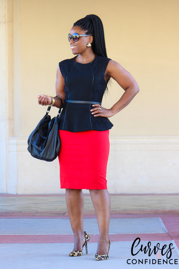 curves-and-confidence-black-lace-peplum-and-red-pencil-skirt_