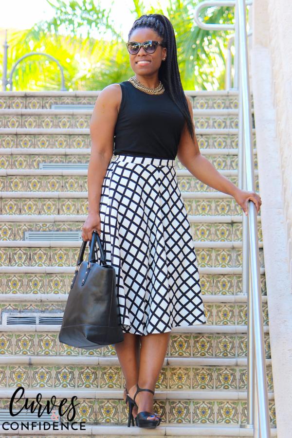 curves-and-confidence-black-white-window-pane-midi-skirt