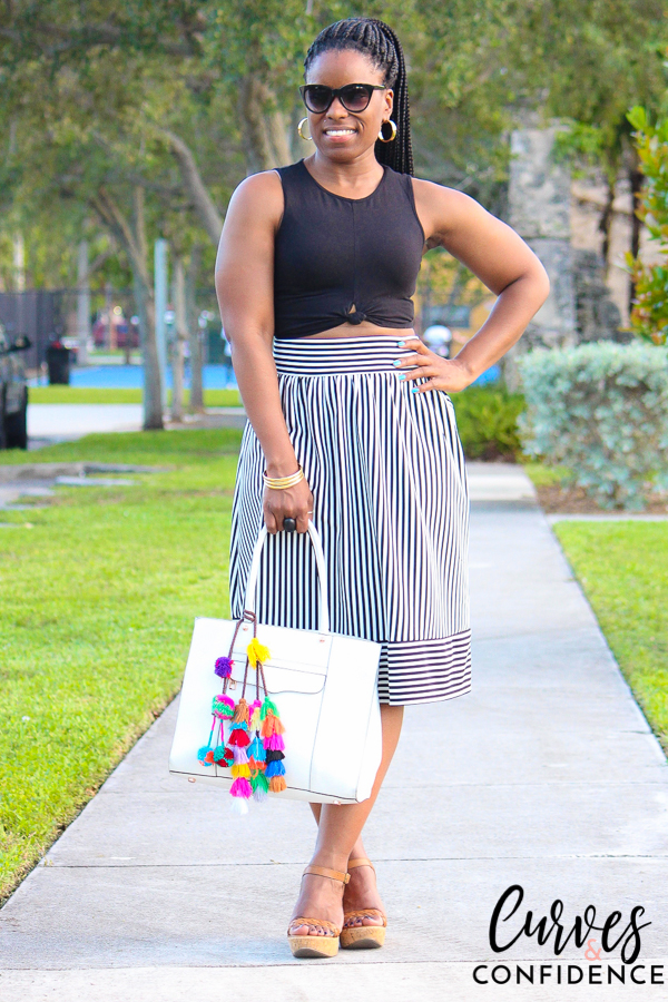 curves-and-confidence-f21-striped-high-waist-skirt-and-crop-top
