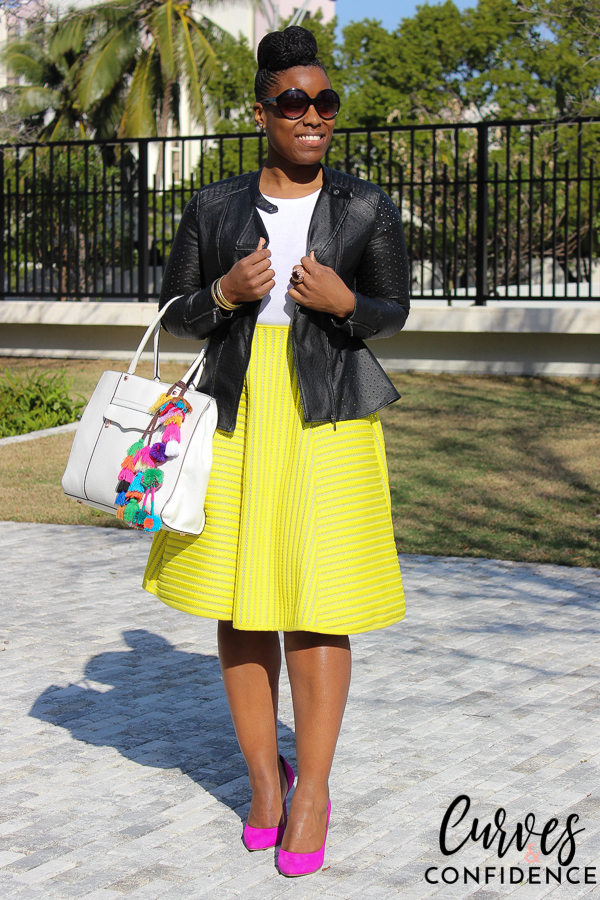 Curves and Confidence: Neon Midi Skirt