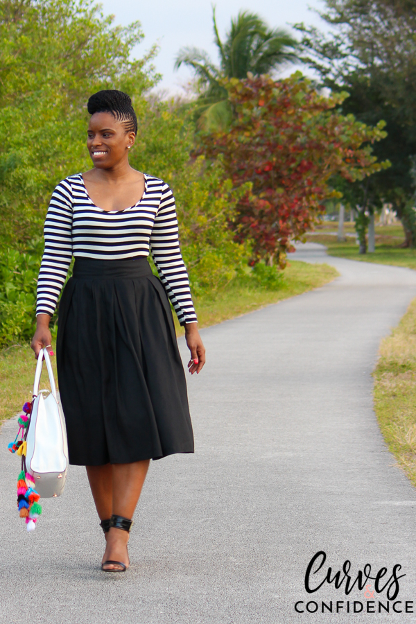 Curves and Confidence: Bodysuit and High Waist Pleated Midi Skirt