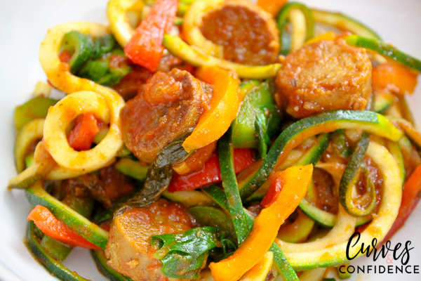 Curves and Confidence: Zoodles Marinara and Field Roast Italian Sausage