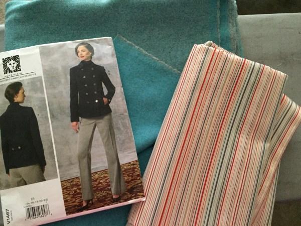 Italian Nassau Blue Wool / Cashmere Fabric for V1467